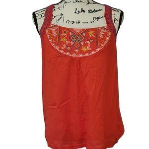 Embroidered tribal Orange Sleeveless Tee - Size L